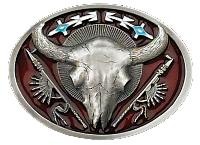 Buffalo Skull Belt Buckle 3-1/4 x 2-3/4 Made in USA - Pewter Plated,  Made in USA
