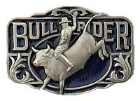 Bullrider Belt Buckle 3 x 2-1/4 Made in USA - Pewter Plated,  Made in USA