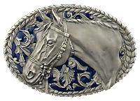 Horsehead Belt Buckle 3-1/2 x 2-3/8 Made in USA - Pewter Plated,  Made in USA