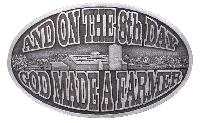 Special  New On the 8th day Farmer - Buckle - Made in USA 3-3/4 x 2-3/4 z