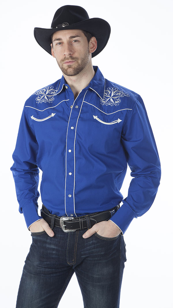 New - Royal Men's Retro Western Shirt, Star Design