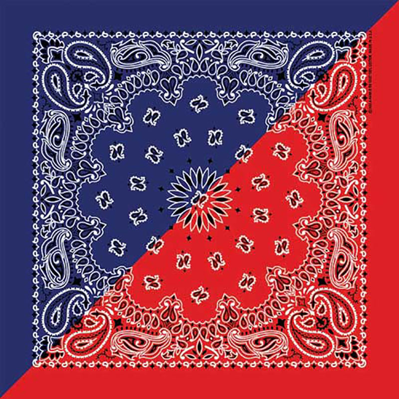New - Split Red/Navy  Paisley Bandannas, 100% cotton, Made in  USA