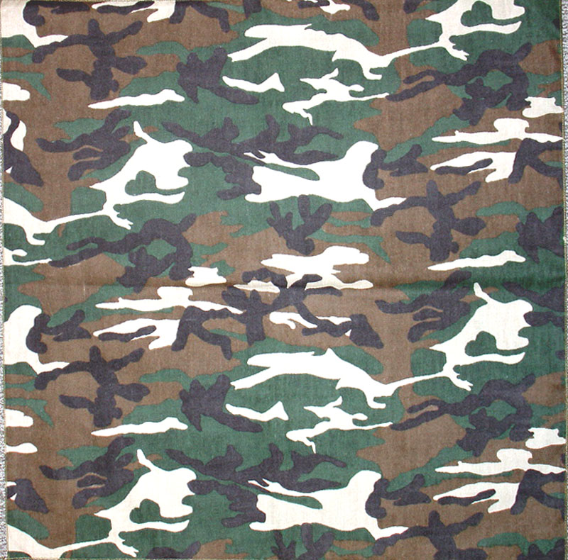 Camouflage Bandannas, 100% cotton, Made in USA