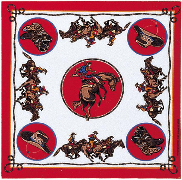 Rodeo Cowboy Bandannas, 50/50 Poly-Cotton,Made in  USA