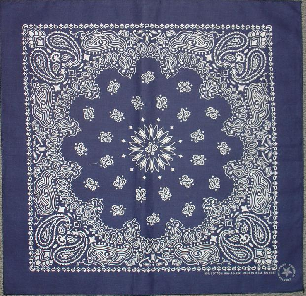 Navy Paisley Bandannas, 100% cotton, Made in  USA