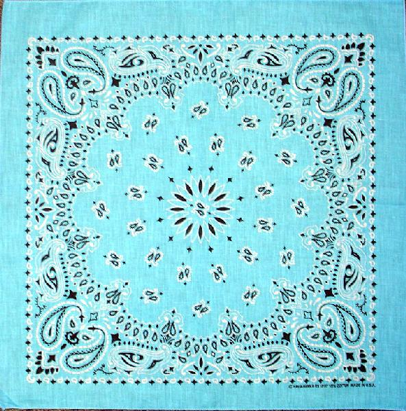 Light Blue Paisley Bandannas, 100% cotton, Made in  USA
