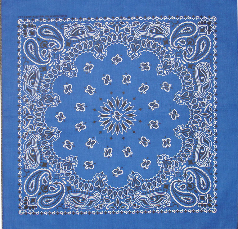 Royal Blue Paisley Bandannas,100% cotton, Made in  USA