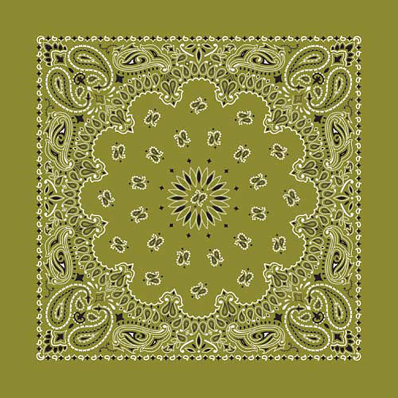 Olive Green Paisley Bandannas, 100% cotton, Made in  USA