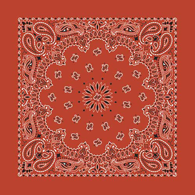 Terra Cotta Paisley Bandannas, 100% cotton, Made in  USA