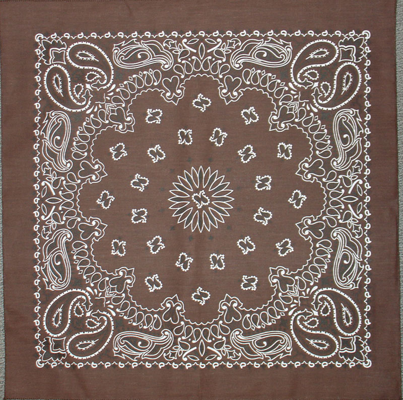 Cocoa Brown Paisley Bandannas, 100% cotton, Made in  USA