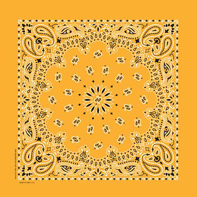 Gold  Paisley Bandannas, Made in  USA (special order)