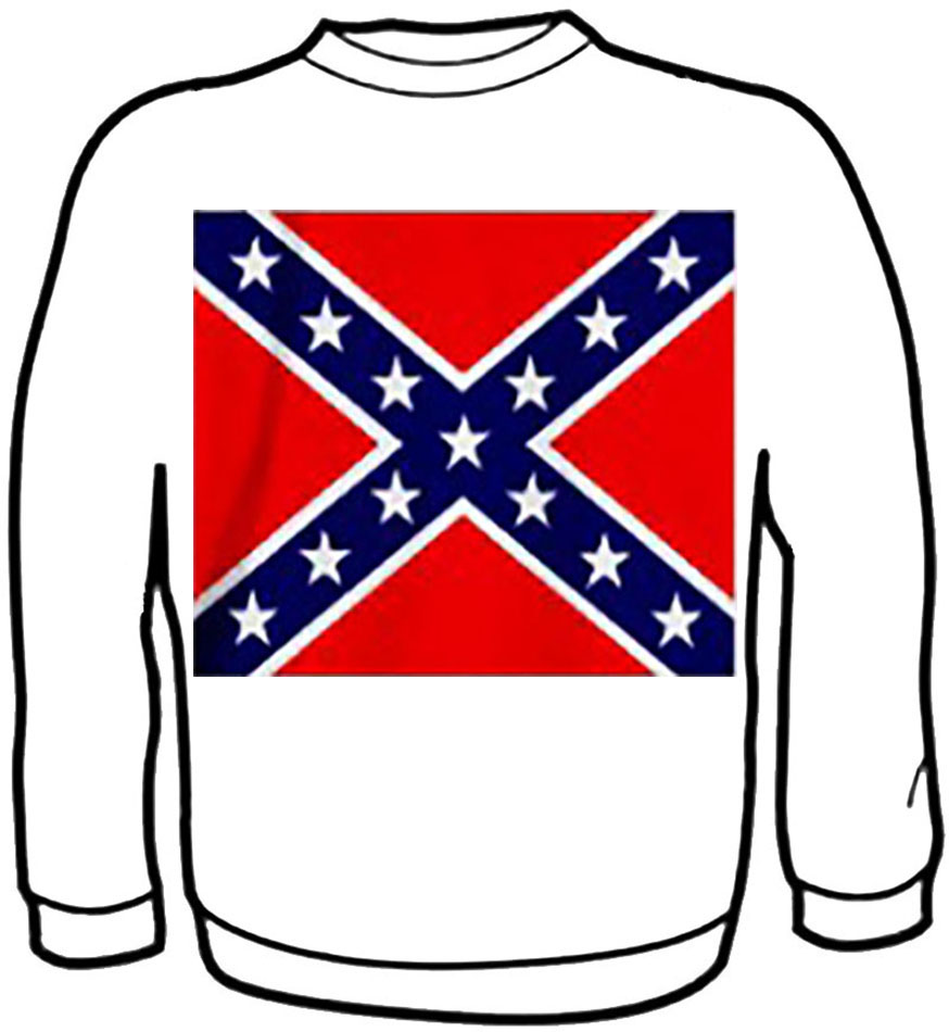Sweatshirt - Rebel Flag - WHITE- wo