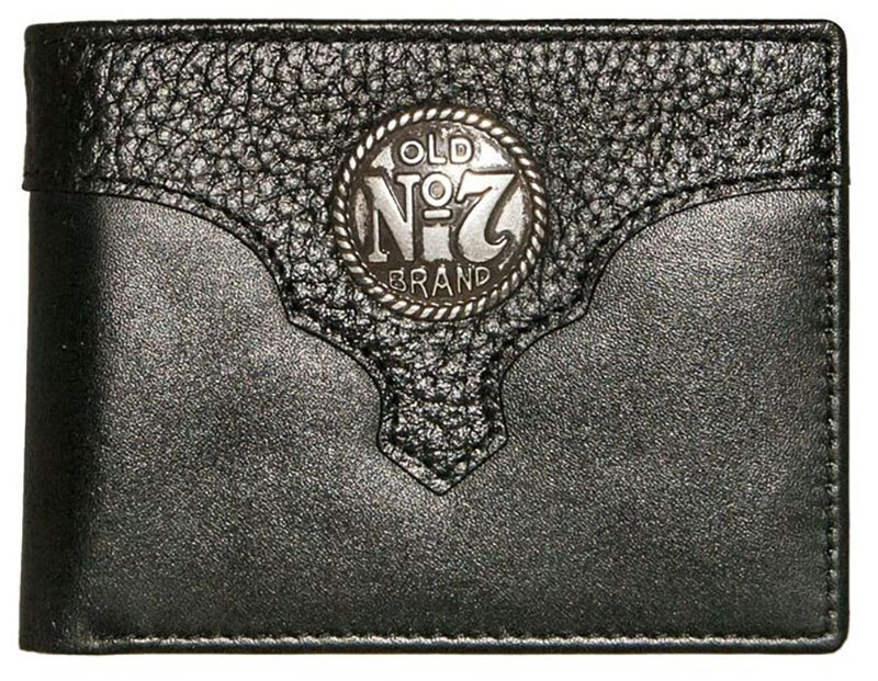New - Old #7 Black Leather Billfold Wallet  nic