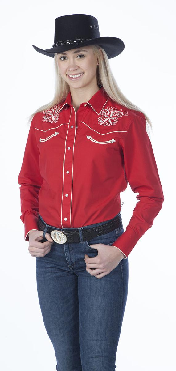 New - Red  Womens Retro Western Shirt, Star Design