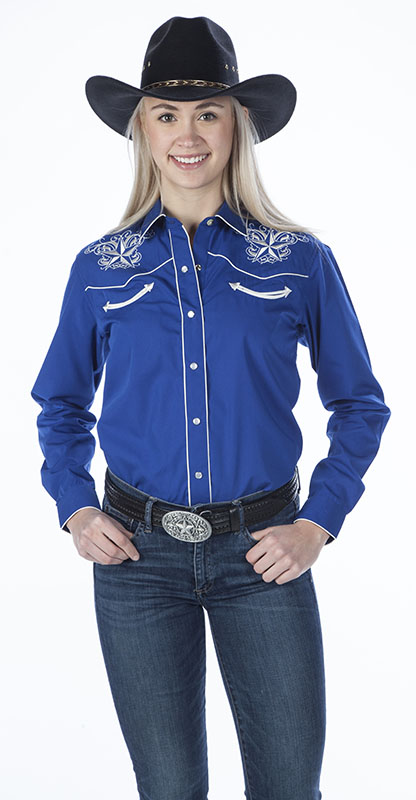New - Royal  Womens Retro Western Shirt, Star Design
