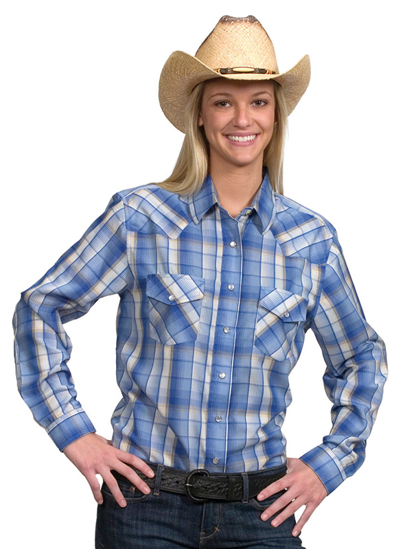 40% Off Women's Western Shirt - Blue Plaid