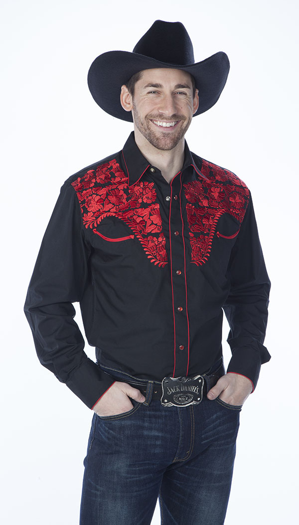 Mens Tooled Black Western Shirts with Red Embroidery