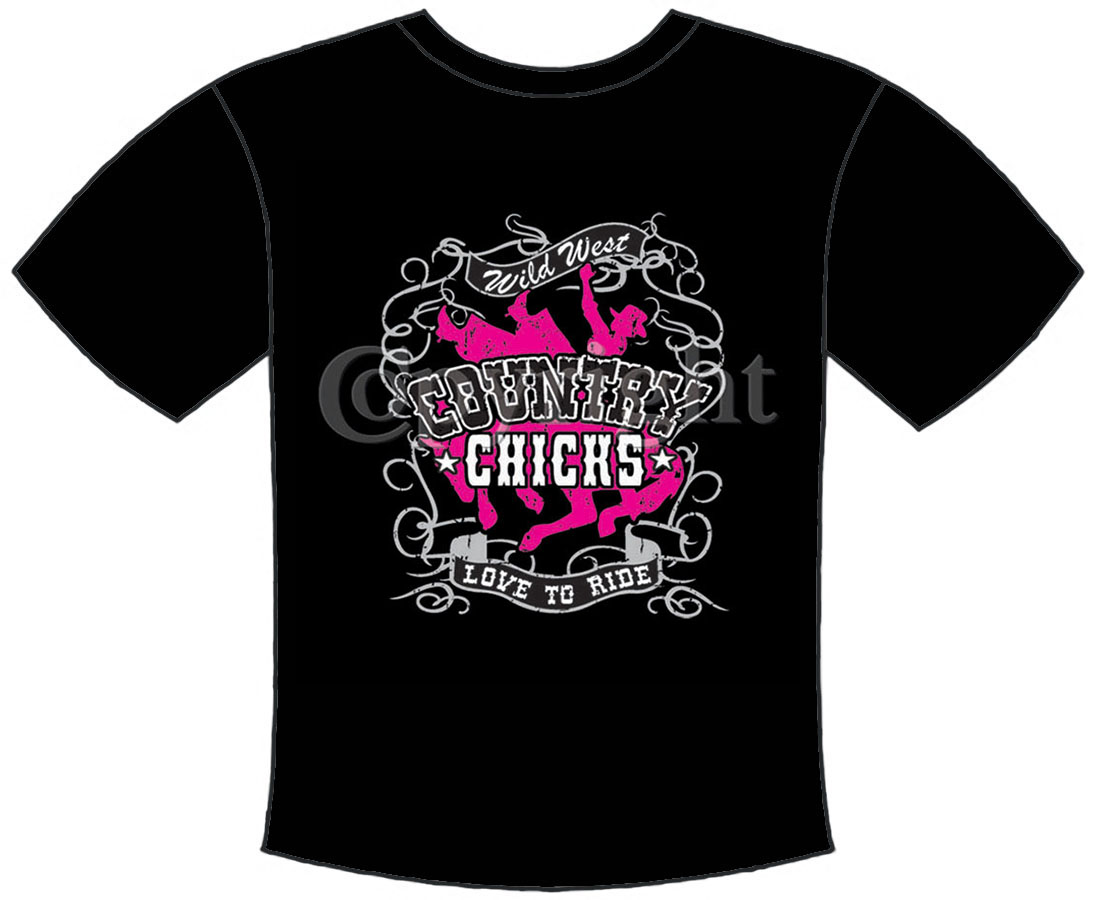 T-Shirt Country Chicks Black Medium