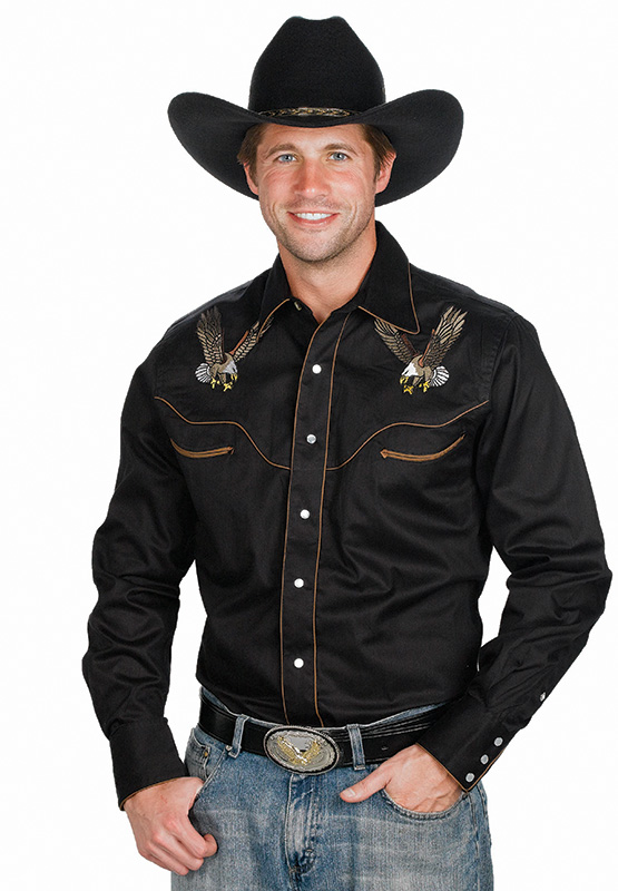 EAGLE DESIGN* Mens Black Retro Western Shirt