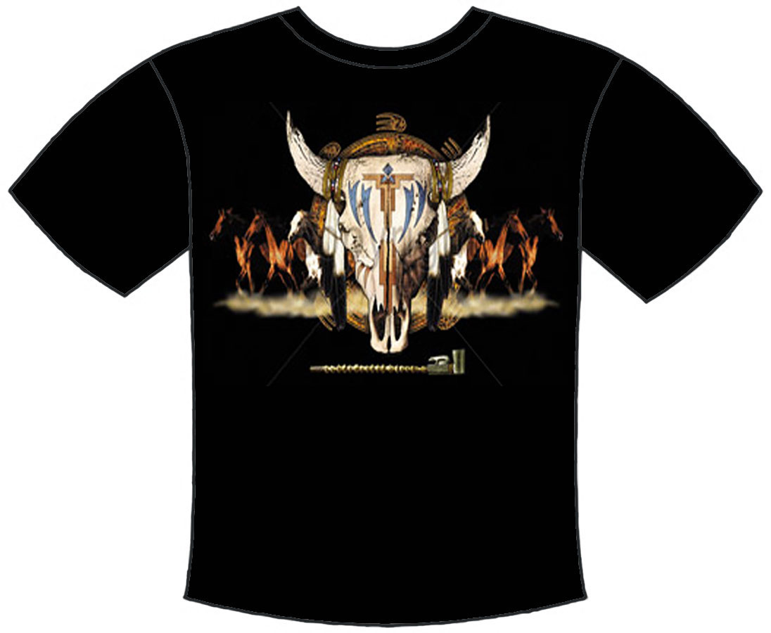 Cow Skull with Horses T-Shirt