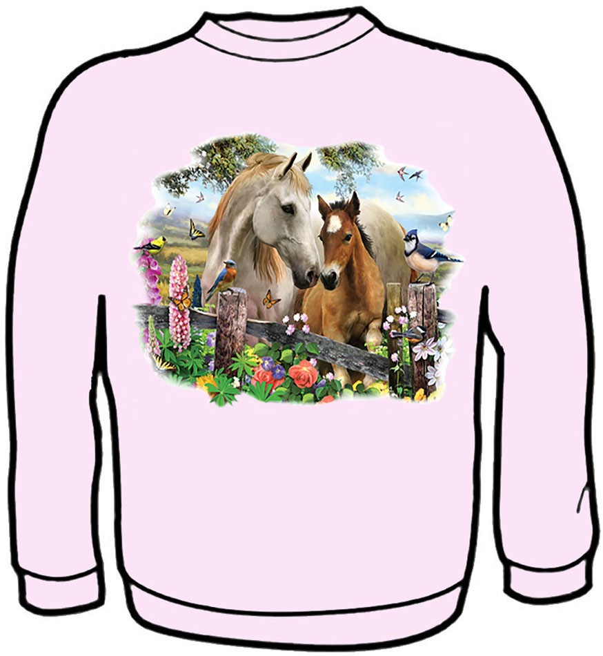 New - Hollyhock Horses/Birds Sweatshirt