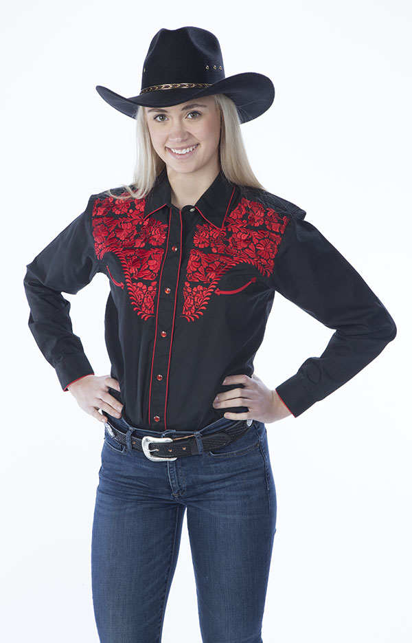 New - Womens Tooled Black Western Shirts, Red Embroidery