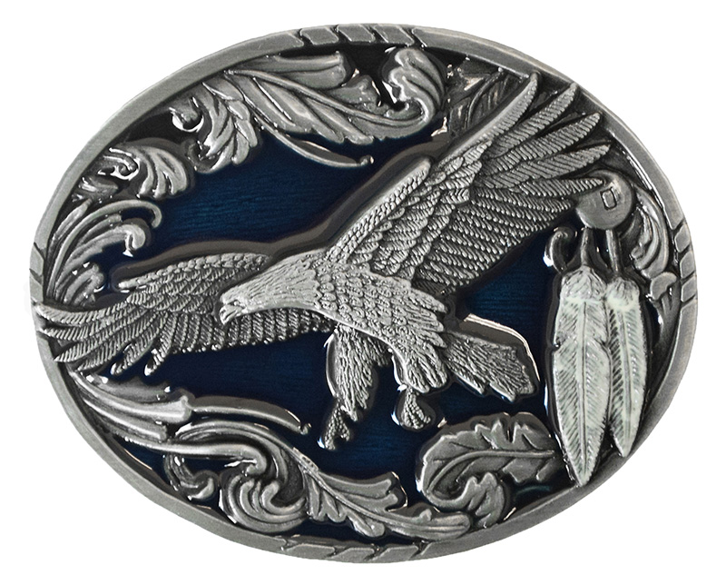 Flying Eagle Belt Buckle with Feathers & Scrolls - Blue Enamel