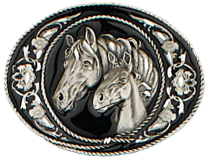 Horseheads Belt Buckle Diamond Cut 3-1/2 x 2-1/4 Made in USA