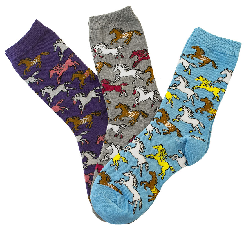 Ladies'  Crew Socks - Running Horses  Assorted 3 pack