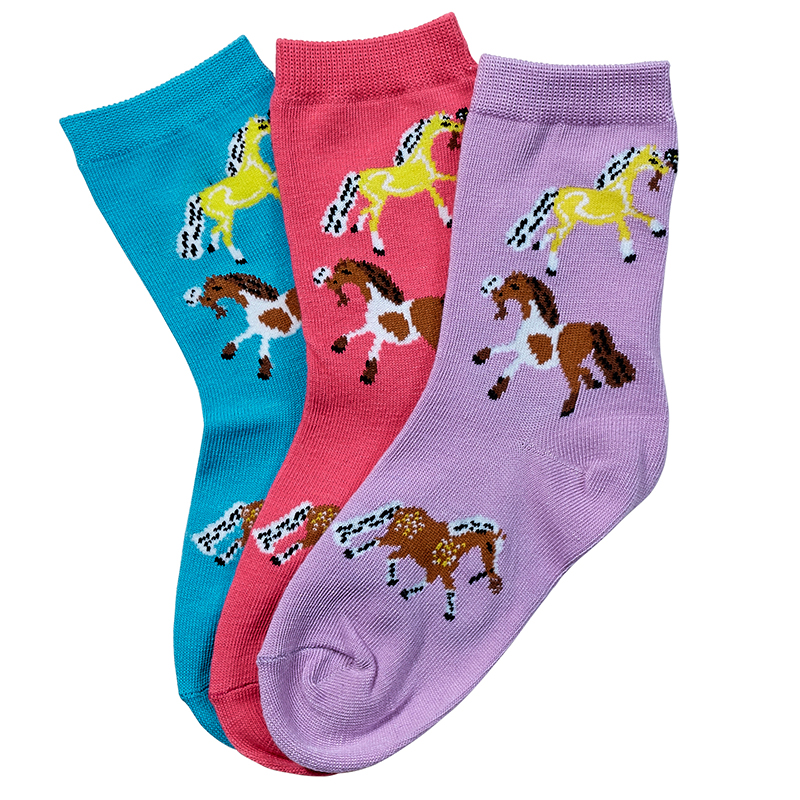 Youth Crew Socks, Puff Ponies 3 Pack