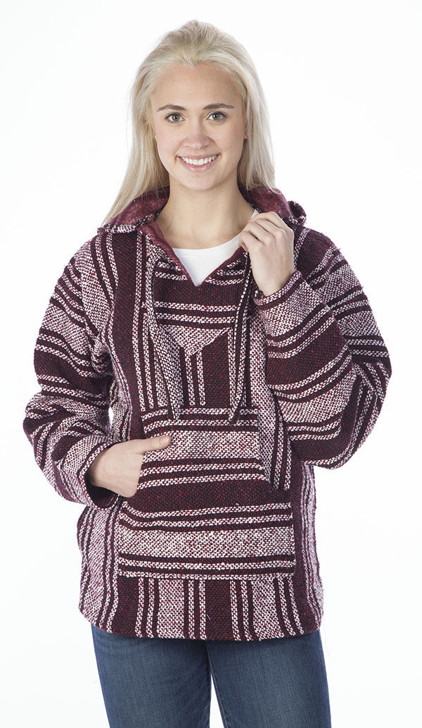 21% - 29% Off Special  - Baja Hooded Jacket, Burgundy and White