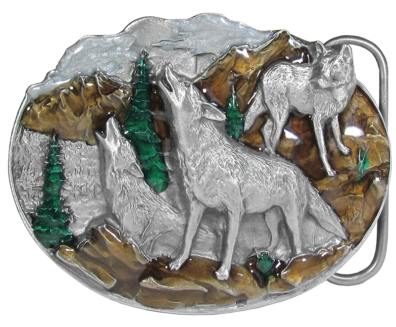 "Wolf Belt Buckle, Enameled  3"" x 2-1/2"" wo"