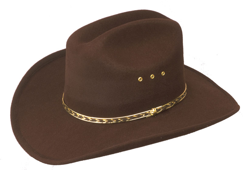 BROWN  Faux Felt Cowboy Hat  - One Size Fits All - KIDS