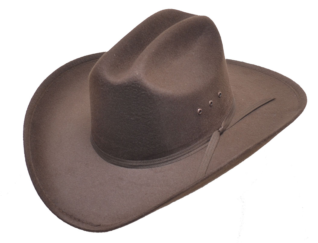 BROWN  Faux Felt Cowboy Hat- BROWN BAND - Elastic Fit All Bands