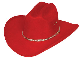RED Faux Felt Cowboy Hat  One Size Fits All KIDS