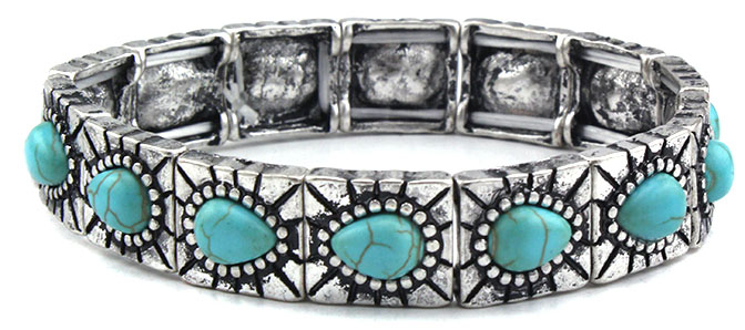 New Bracelet - Silver w/ turquoise-  Elastic - wo