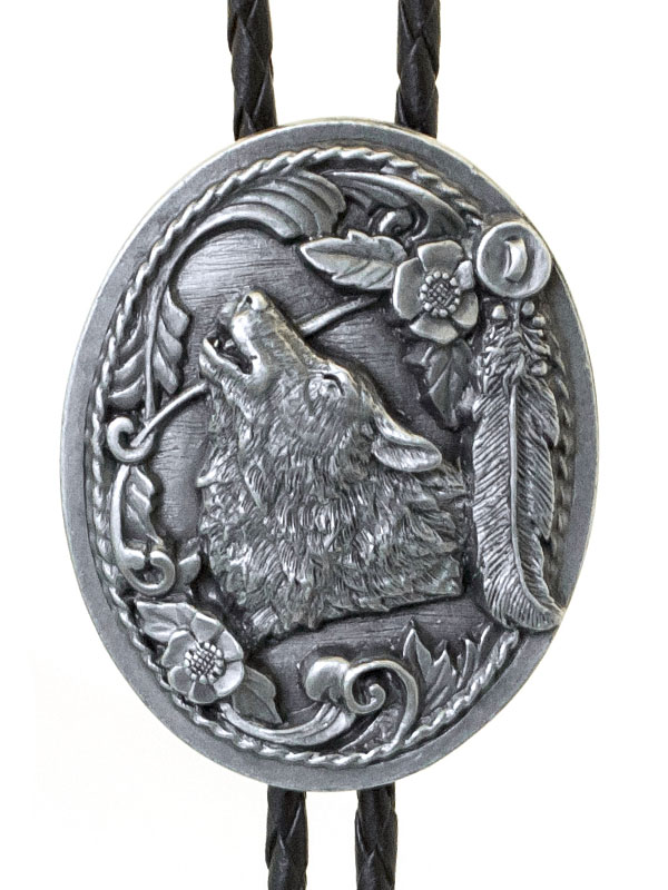 AVAILABLE SOON Wolf Head - Feathers Bolo Tie   Made in USA  wo