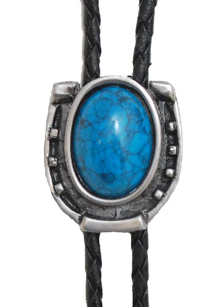 Bolo Tie - Antique Silver with Blue Stone,  Made in  USA