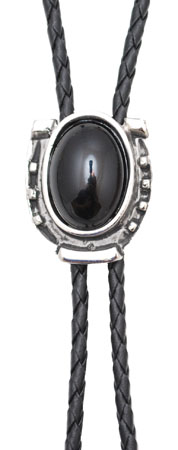 Onyx Antique Silver Bolo Tie Made in the USA