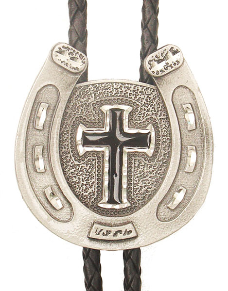 Horseshoe Cross Bolo Tie Black Enamel Made in the USA