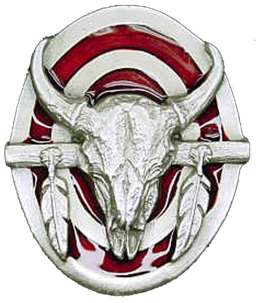 Closeout  Buffalo Skull Bolo Tie  Red Enamel  Made in  USA  d