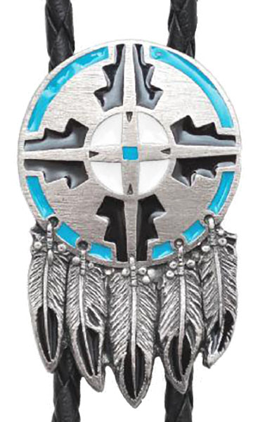 New - Shield and Feather Bolo Tie  Made in the USA wo
