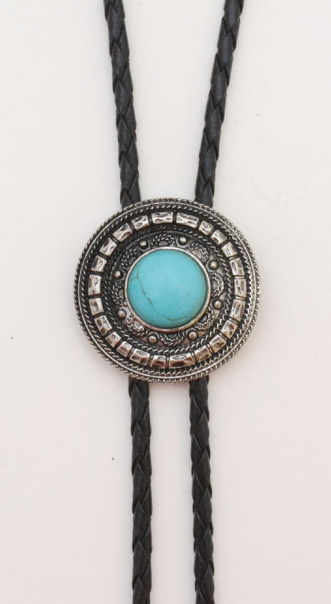 New - Bolo Tie Antique Silver with Turquoise