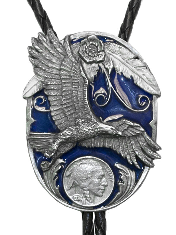 New - Eagle & Indian Head Coin Bolo Tie Made in USA wo