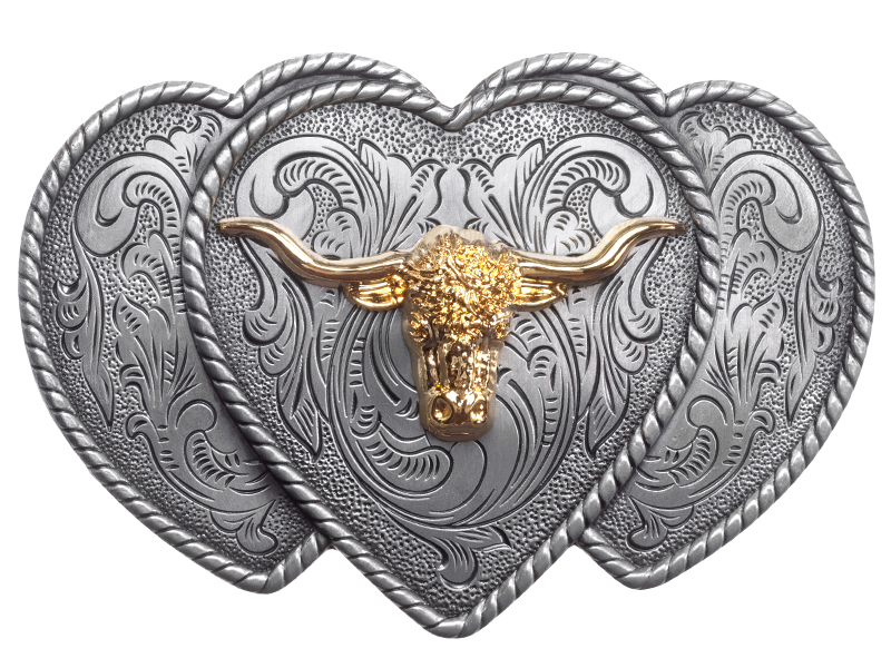 Belt Buckle - Steer Head on Hearts