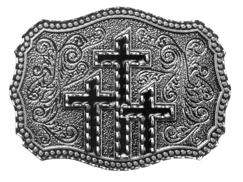 Belt Buckle - Three Black Crosses