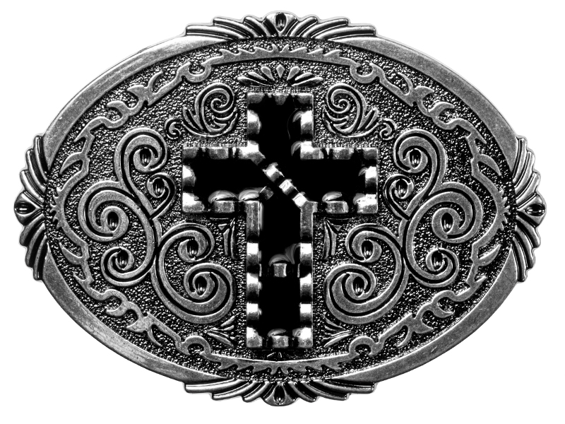 Belt Buckle - Black Cross