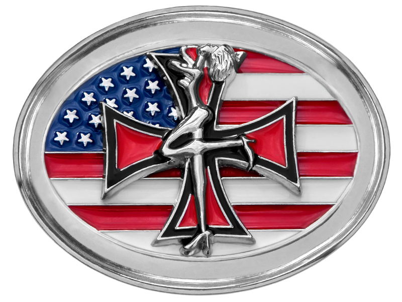 Maltese Cross on American Flag Belt Buckle *WILL BE DISCONTINUED