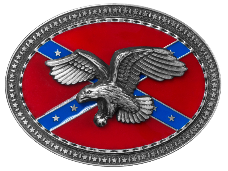Belt Buckle - Eagle on Rebel Flag - Oval