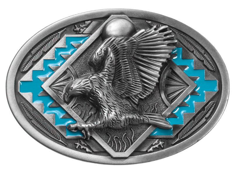 Flying Eagle Belt Buckle with Teal Enameled Southwestern Design *WILL BE DISCONTINUED